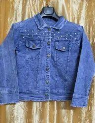 Girls Full Sleeve Blue Casual Denim Jacket, Size: Free