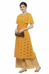 Women Gold Foil Printed A-Line Kurta (Yellow)