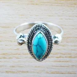 Turquoise Gemstone Jewelry 925 Sterling Silver Ring