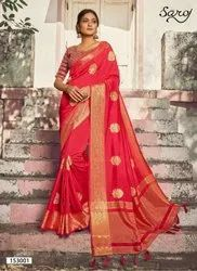 Designer Gajari Color Silk Saree