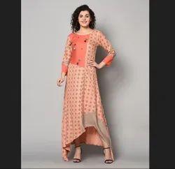 Cotton Printed Znx Royal Pink Designer Long Maxi Dress