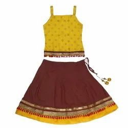 Yellow And Brown Party Wear Fancy Designer Kids Lehengas Choli, Size: 12-24, 6 Month To 5 Year
