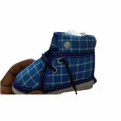 Blue Checked Kids Shoes