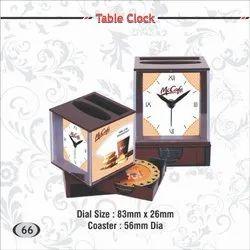 Multicolor Plastic Table Clock ( Mc Caffe, Haier, BMW, Infosys), Shape: Square, Size: Dia 83mm X 26mm