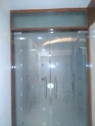 Hinged Nickel Finish Anderson Glass Door, For Office, Thickness: 10 Mm