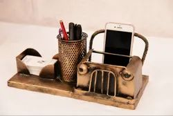 Metal Golden Vintage Iron Jeep Pen Stand And Visiting Card Holder, For Decoration, Size: 12 X 6 X 6 In
