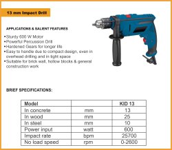KPT 13MM IMPACT HAMMER DRILL MACHINE