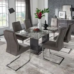 Dimensions: 20*18 Inches White And Brown Modern Glass Dining Table With Six Grey Chair