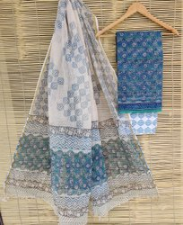 Unstitched Blue Kota Doria Salwar Suits, Handwash