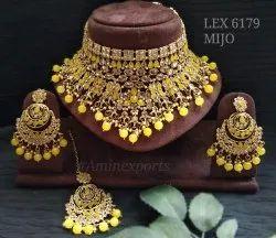 Golden Polki Choker Necklace Set LEX 6179