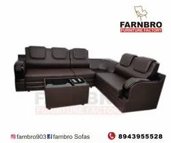 BROWN Rexine Artificial Leather Sofas, For Home, Seating Capacity: 5 Plus Corner