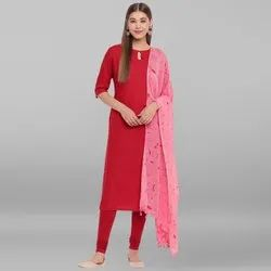 Janasya Women's Maroon Rayon Kurta With Dupatta(SET203)