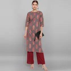 Janasya Women's Grey Cotton Kurta With Palazzo (SET238)