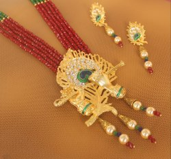 Crystal Beaded Lord Krishna Murli Pankha Necklace Set