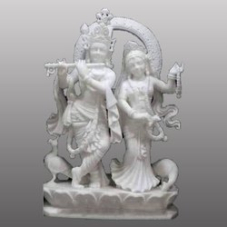 Lord Shri Radha Krishna Yugal Jodi White Marbale Statue