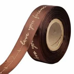 Double Satin Embossed Love You Forever - Coffee Ribbons 25mm/1''inch 20mtr Length