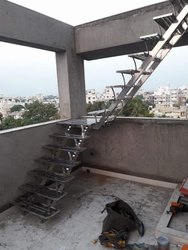 Spiral Deck Steel Staircase, For Home