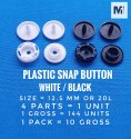 Plastic Snap Button, Round, Size: 10 Mm, 13 Mm & 15 Mm