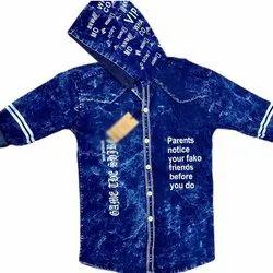 Full Sleeves Blue Stylish Printed Denim Shirt, Size: XL