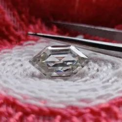 Colorless Elongated Hexagon Cut Loose Moissanite For Jewelry