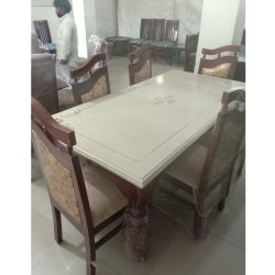 Rectangular Brown Wooden Dining Table Set With Marble Top Size 5 5 X 3 Feet Rs 45000 Set Id 22861441897