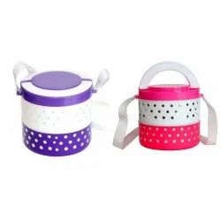 Prince Blue + White Two Container Plastic Insulated Lunch Box, Capacity: 500 Ml