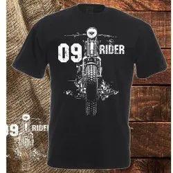 Half Sleeves Black Cotton Men''''S Round Neck Printed T-Shirt