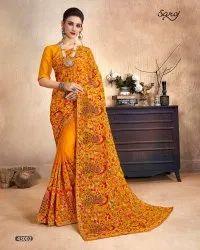 Yellow Color Kashmiri Work Saree