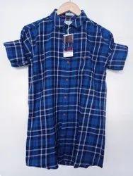 Check Blue Mens Stylish Cotton Shirt, Size: XL