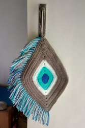 Brown and Blue Vardhaman Knitting Yarn Macrame Wall Hanging, For Home,Decoration
