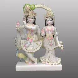 Lord Radha Krishna Yugal Jodi Fancy Painting Marble Statue