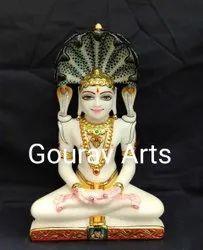 White Marble Jain Parshwanath Bhagwan Idol