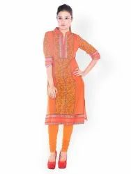 Casual Wear 3/4th Sleeve Orange Coller Neck Printed Kurti, Wash Care: Machine wash