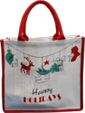 Dyed Jute Christmas Printed Bag