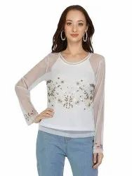 Embroidered White Tulle Top