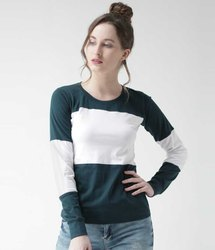 Round Ladies Fancy Full Sleeve Cotton T Shirts, Size: M-XXL