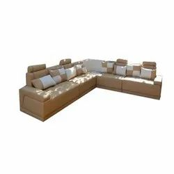 Wooden Brown, White L Shaped Sofa Set, For Home