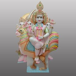Goddess Murgan Devi Gold Touch Marble Statue