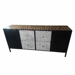 Noire Geo Bone Inlay Large Sideboard Chest Of Drawers