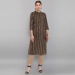 Janasya Women's Dark Green Cotton Kurta (JNE3550)