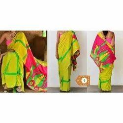 Printed Ladies Fancy Cotton Saree, Machine wash, 6.3 m(with blouse piece)