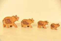 Brown Wooden Elephant Statue Set, For Home Decor, 4 Pieces