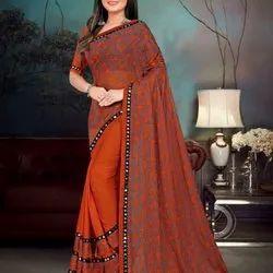 Party Wear Printed Ladies Designer Cotton Saree, With blouse piece, 6.3 m