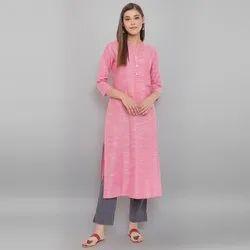 Janasya Women's Pink Cotton Flex Kurta With Side Pocket (JNE3605)