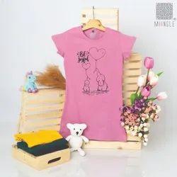 Onion Pink Girl's Tshirt Dress