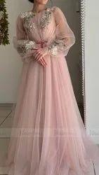 Georgette Pink Ladies Western Dress