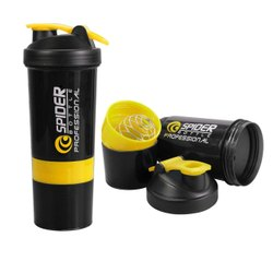 Spider Smart Protein Shaker Bottle For Gym With 2 Storage Extra Compartment 500 Ml Sipper