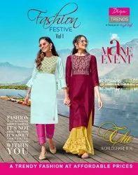 Diya Trends Fashion Festive Vol 1 Chanderi Kurti With Plazzo Catalog