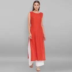 Janasya Women's Orange Rayon Kurta (J0132)