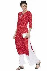 Women Printed Rayon Straight Kurta (Red)